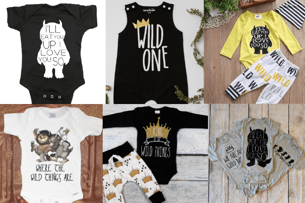 a collection of baby clothing