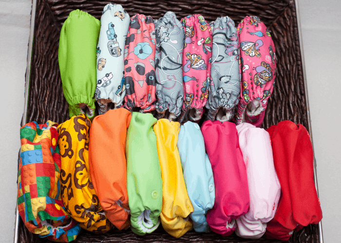 cloth diapers in basket
