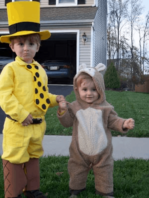 man in the yellow hat and curious george halloween costume