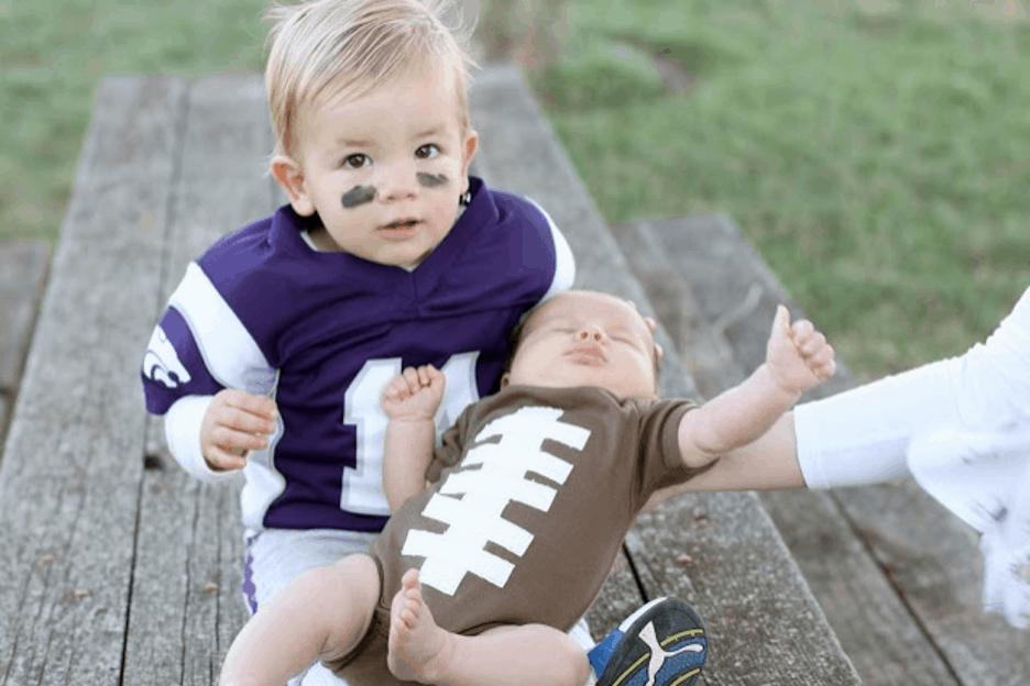Halloween costume football player and football
