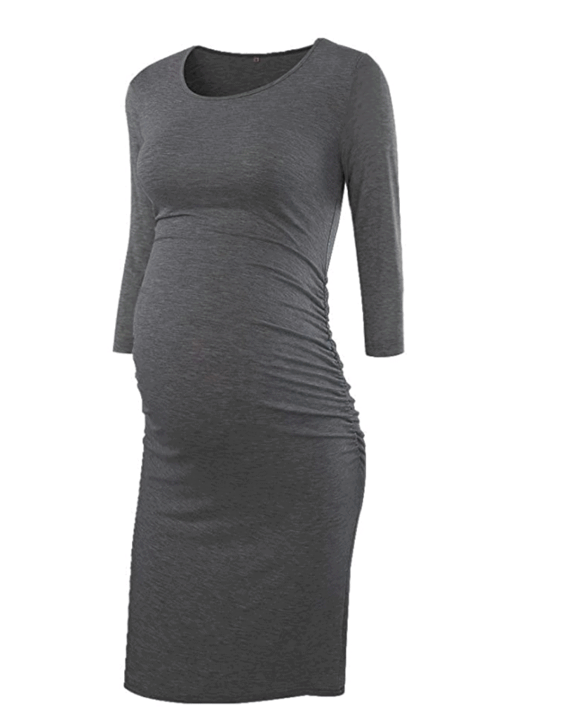 long sleeve gray ruched maternity dress