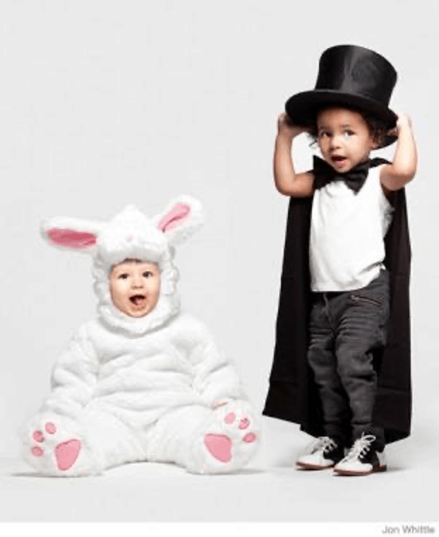 halloween costume bunny and magician