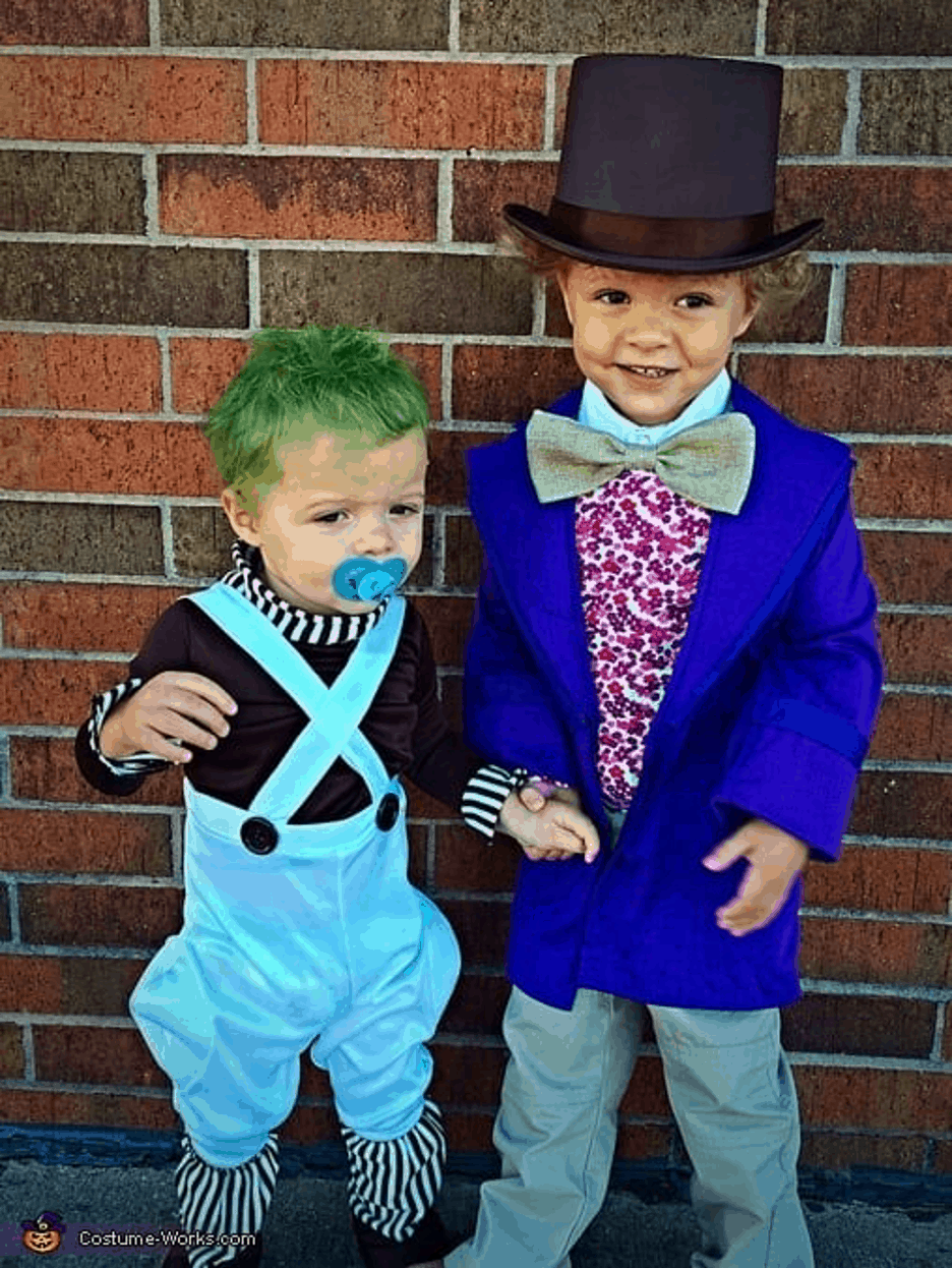 Brothers Oompa Loompa and Willy Wonka halloween costume