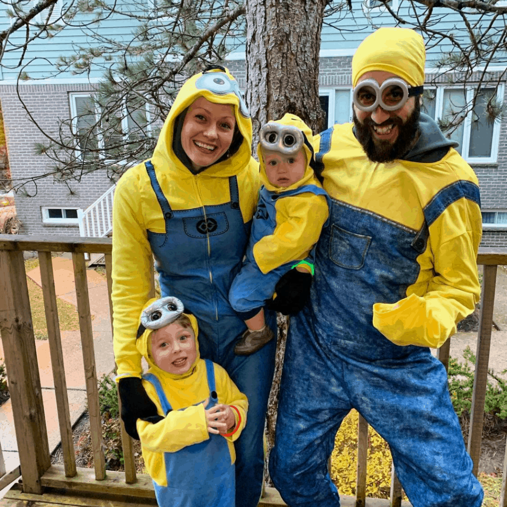 family dressed as minions