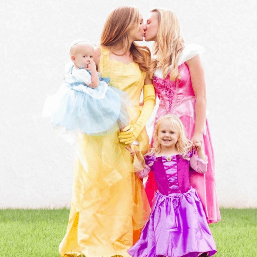 family dressed as princesses
