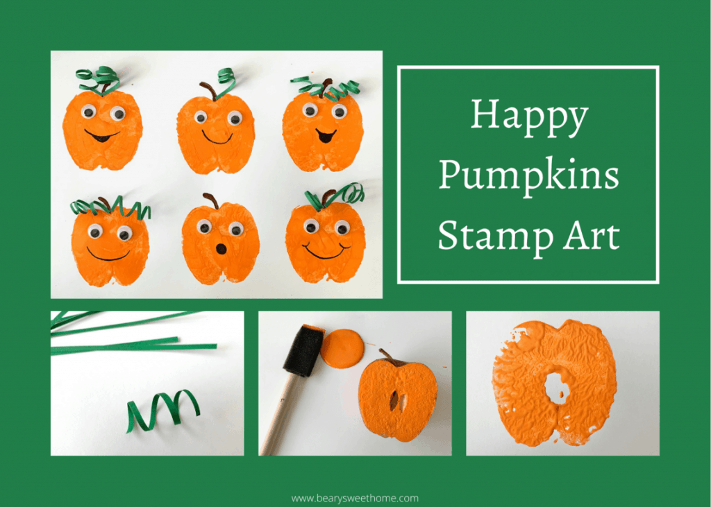 pumpkin stamp art craft for toddlers