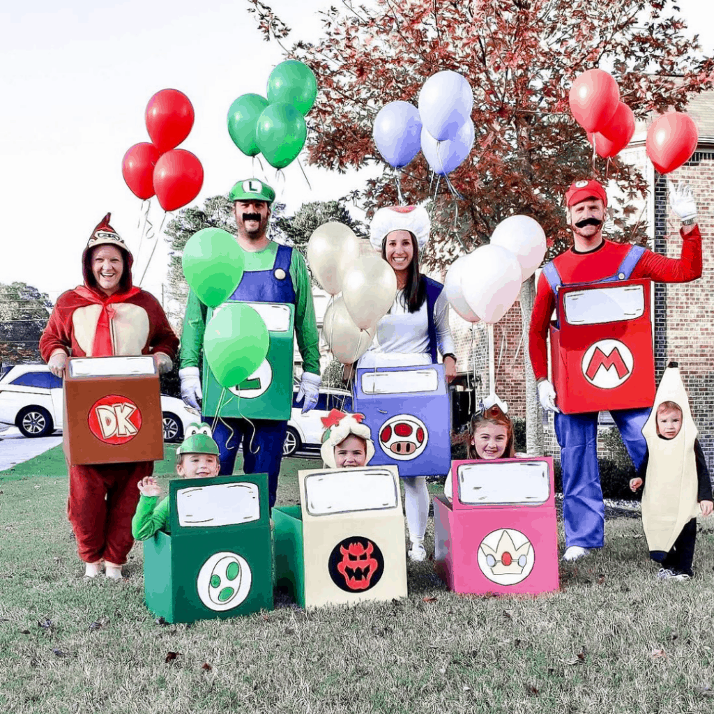 family dressed as characters from mariokart