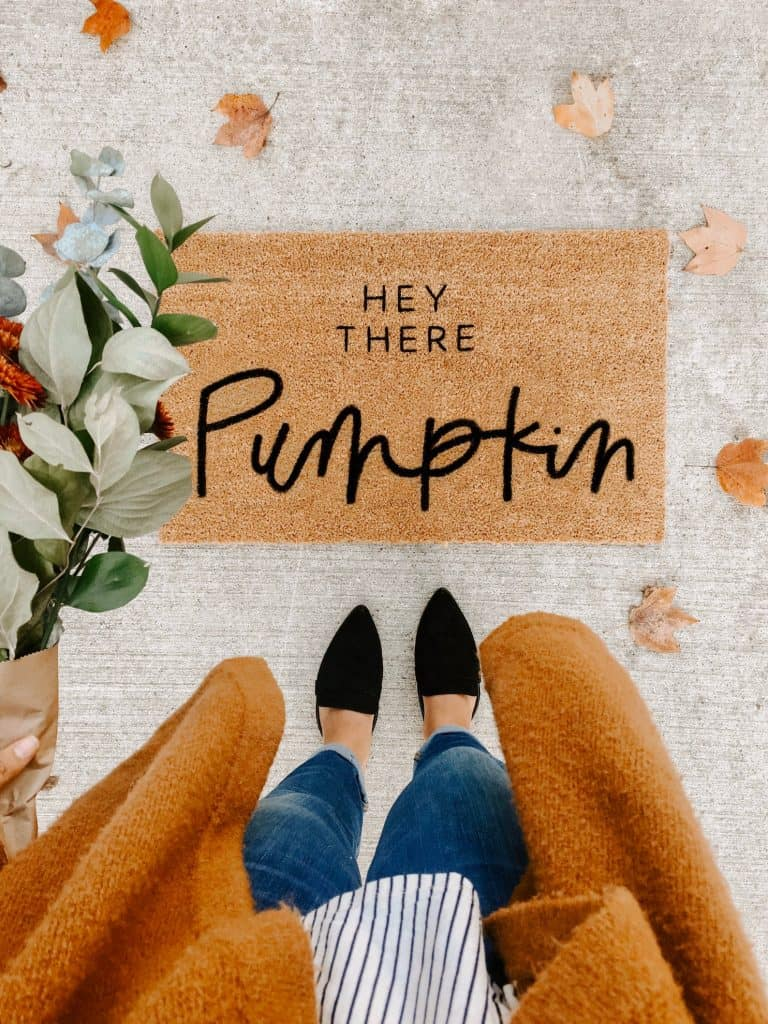 hey there pumpkin front door mat
