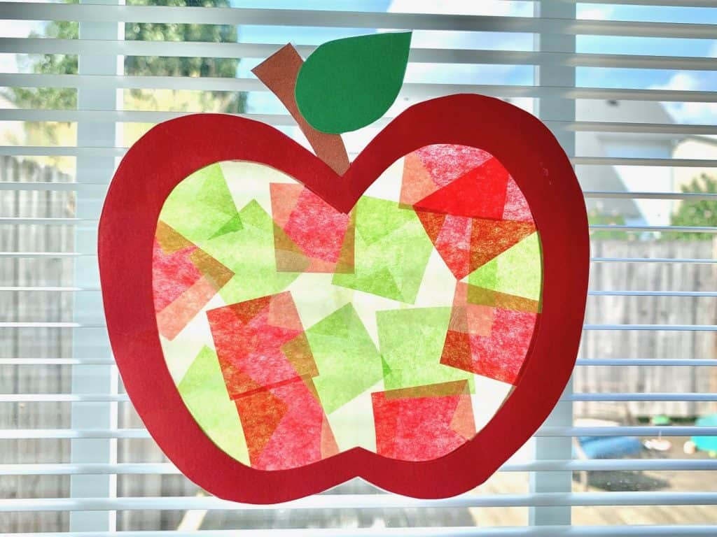 stained glass apple craft for preschoolers