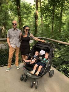 Image of family using the Joovy Scooter X2 Stroller