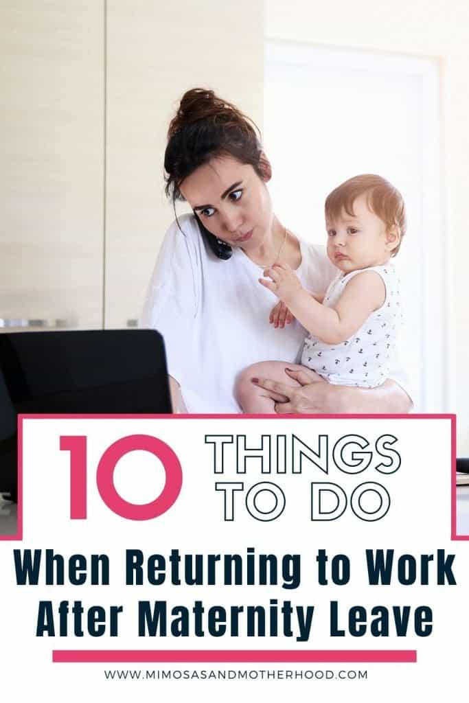 title image of the top 10 things to do after returning from maternity leave