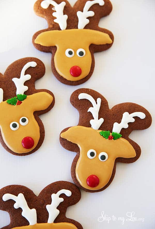 sugar cookies decorated to look like reindeer