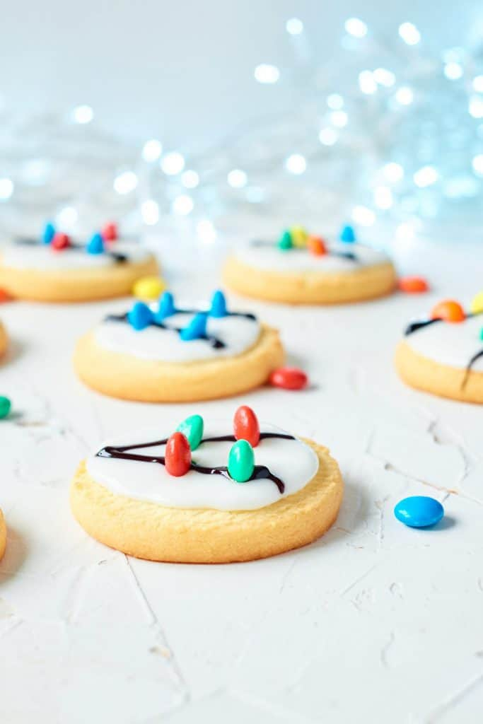 image of cookies with white frosting and candy