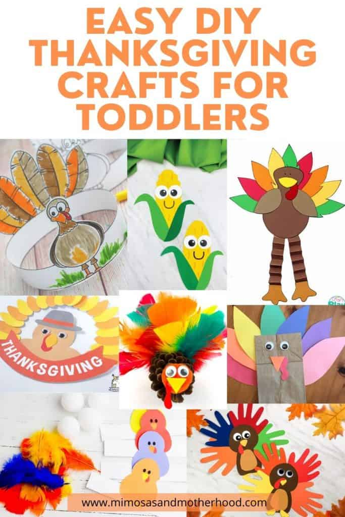 large title image of easy thanksgiving crafts for toddlers