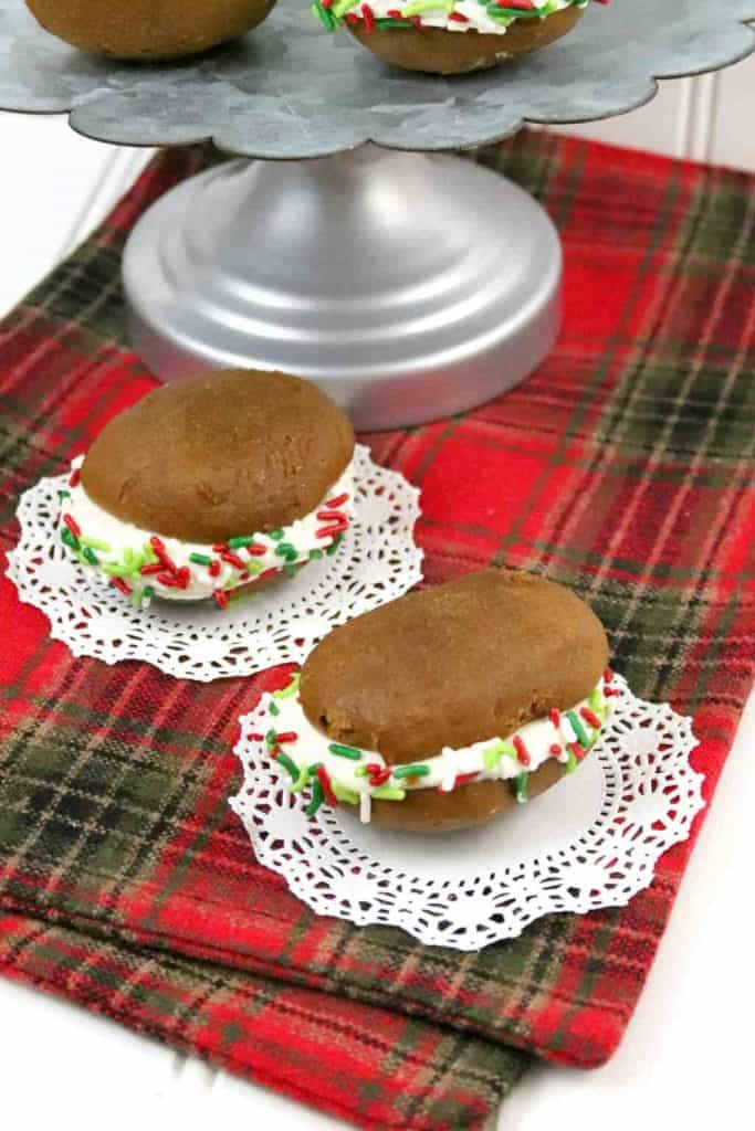 two Christmas whoopee pies