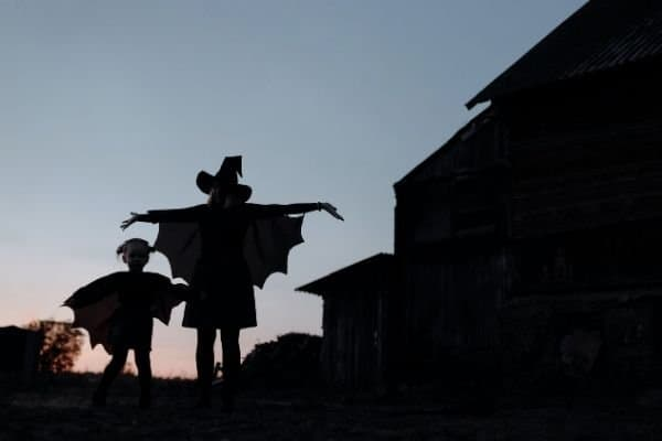 woman and child in Halloween costumes at dusk