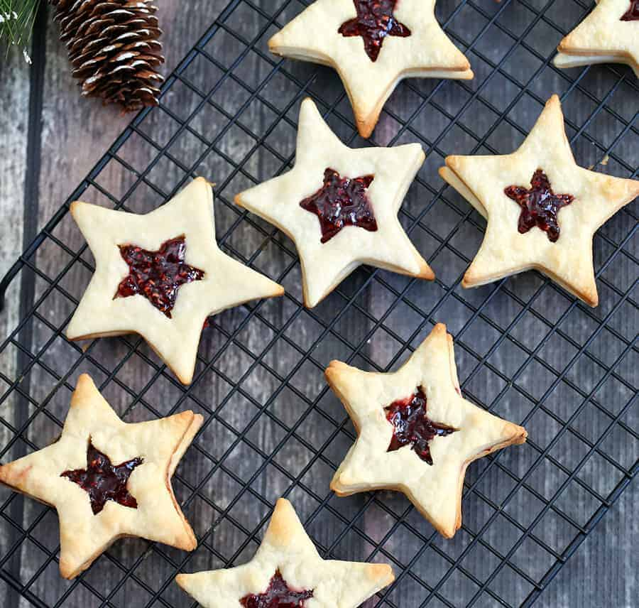 star shaped cookies with jam centers