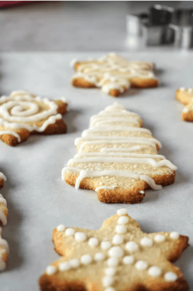 a close up shot of sugar cookies