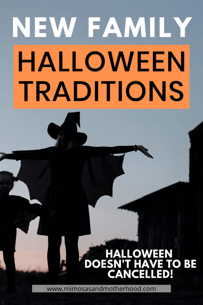 title image for new family halloween traditions post showing mom and daughter in costume.