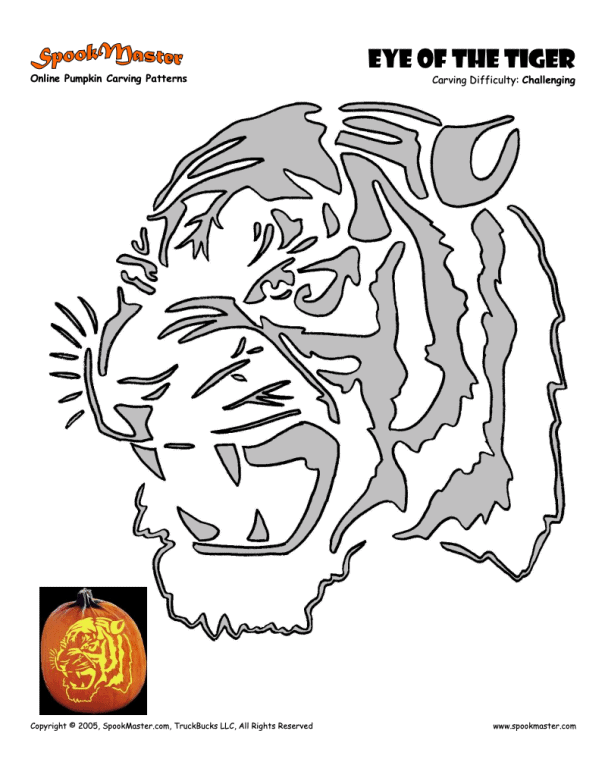 tiger stencil for pumpkin carving