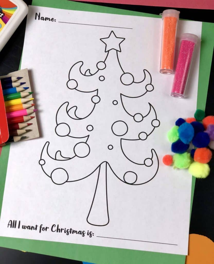 printable christmas tree for kids to color