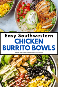 title image for southwestern chicken burrito bowls