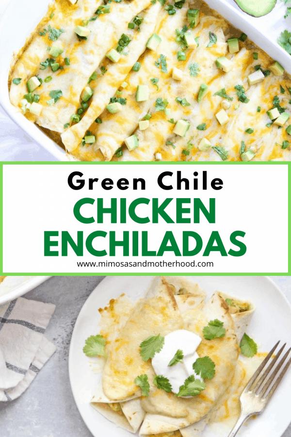 title image for green chicken chile enchiladas recipe
