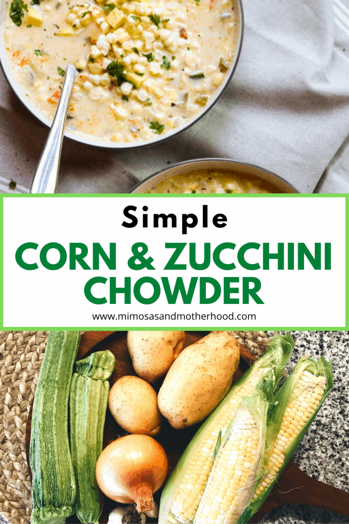 title image for corn and zucchini chowder