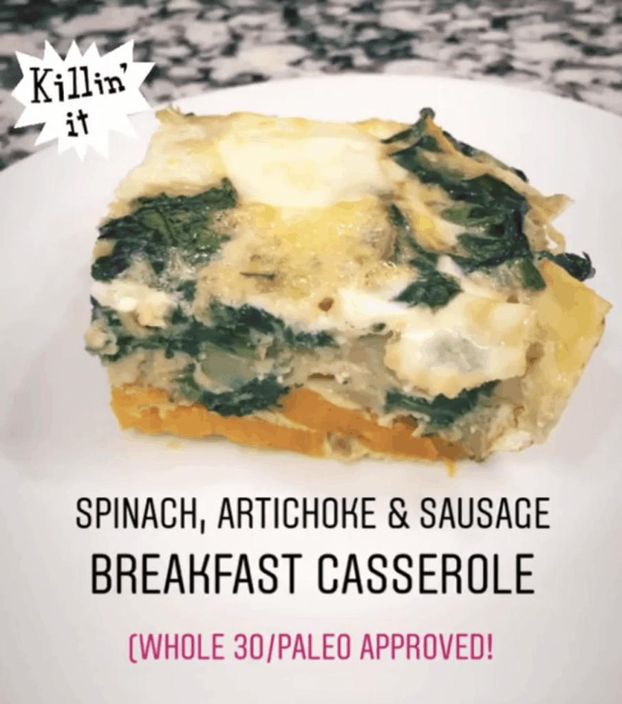 slice of spinach and artichoke breakfast casserole