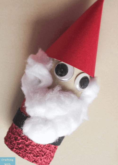 santa made out of a toilet paper roll