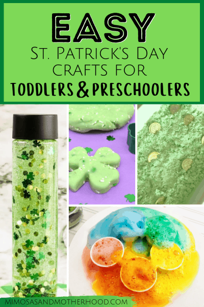 title image of easy st patrick's crafts for toddlers
