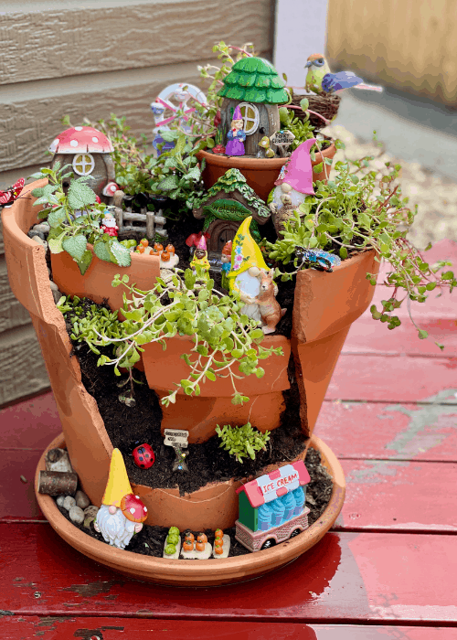 completed fairy garden