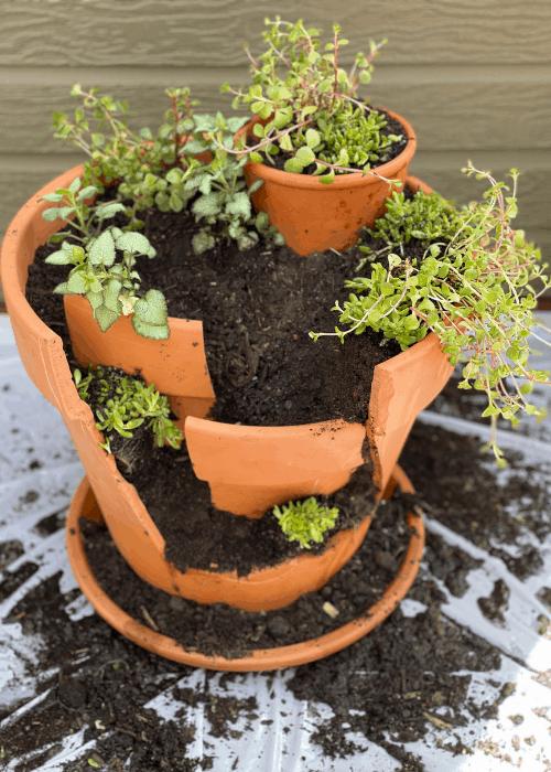 assembling a broken pot garden