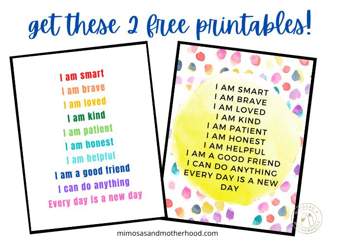 printable positive affirmations for kids
