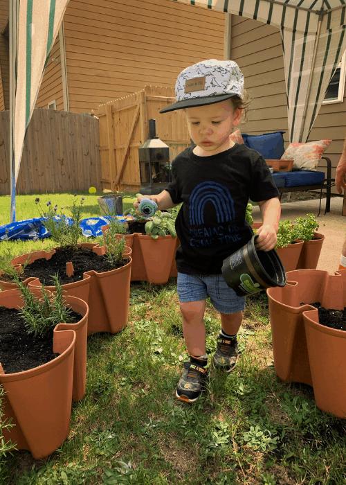 child with garden