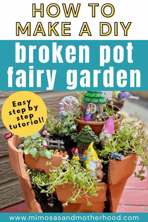 broken pot fairy garden diy