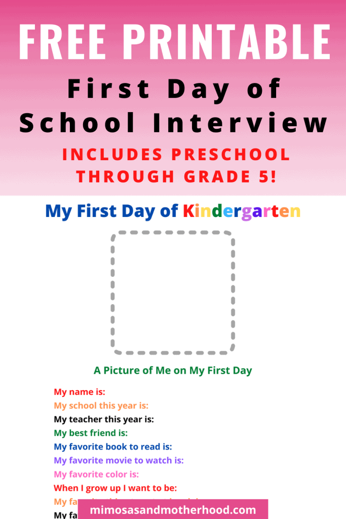 first day of school interview for kids