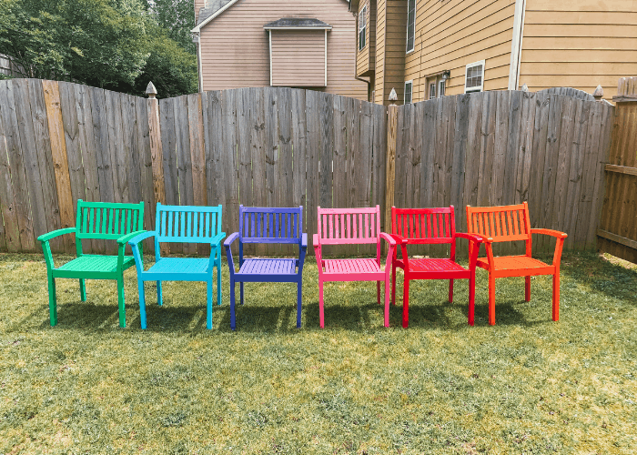 bright colored outdoor seatings