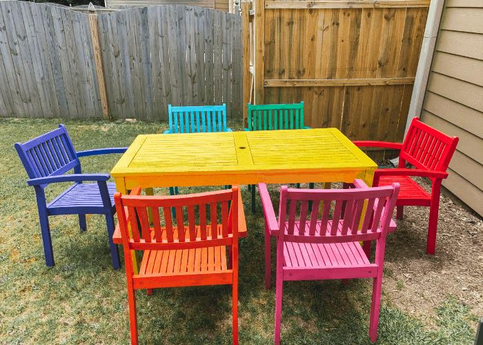 rainbow wooden outdoor patio furniture