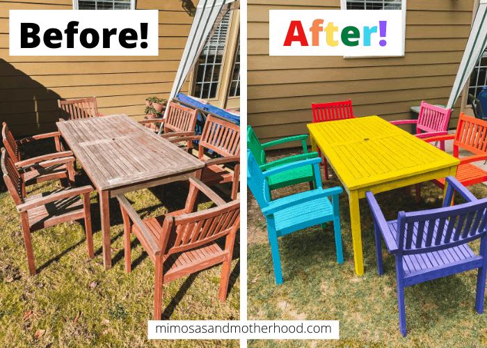 spray paint rainbow wooden outdoor patio set