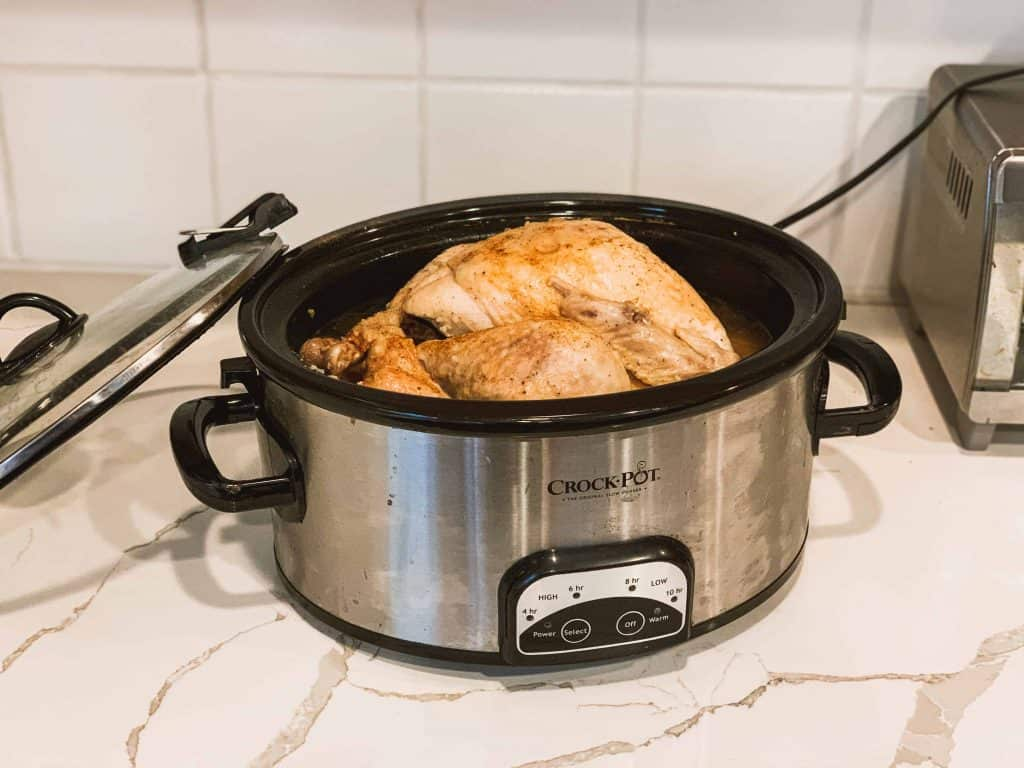 whole turkey roasted in a slow cooker