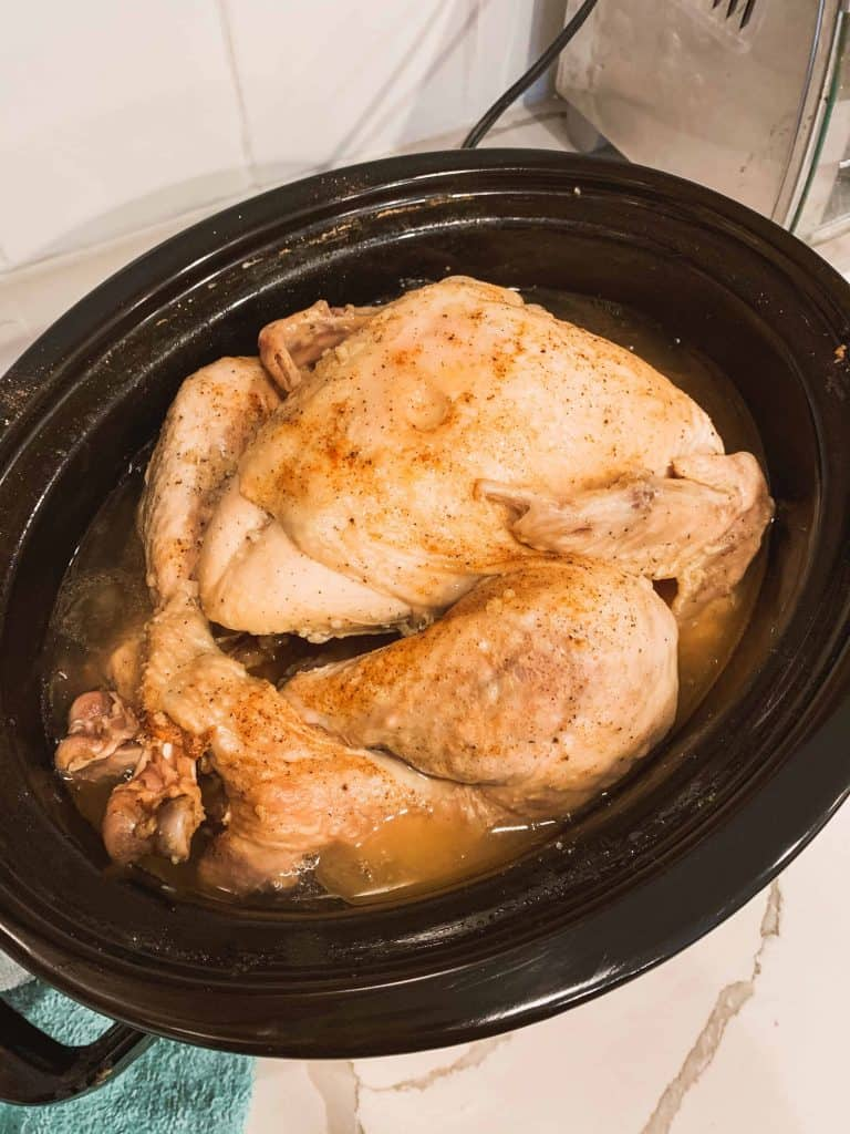 cooked turkey in a slow cooker