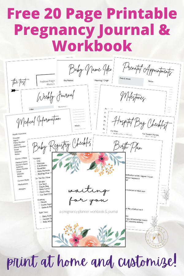 pages of the free printable pregnancy planner