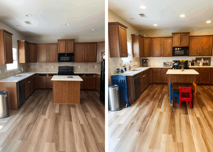 before and after painting kitchen tile backsplash