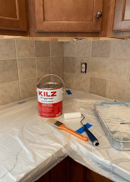 supplies for painting kitchen tile backsplash
