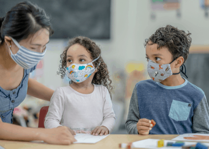 kids wearing mask at preschool