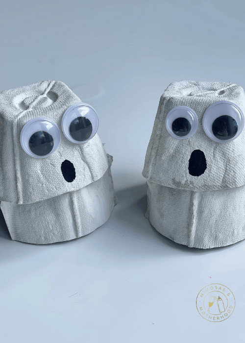 ghosts made of egg cartons