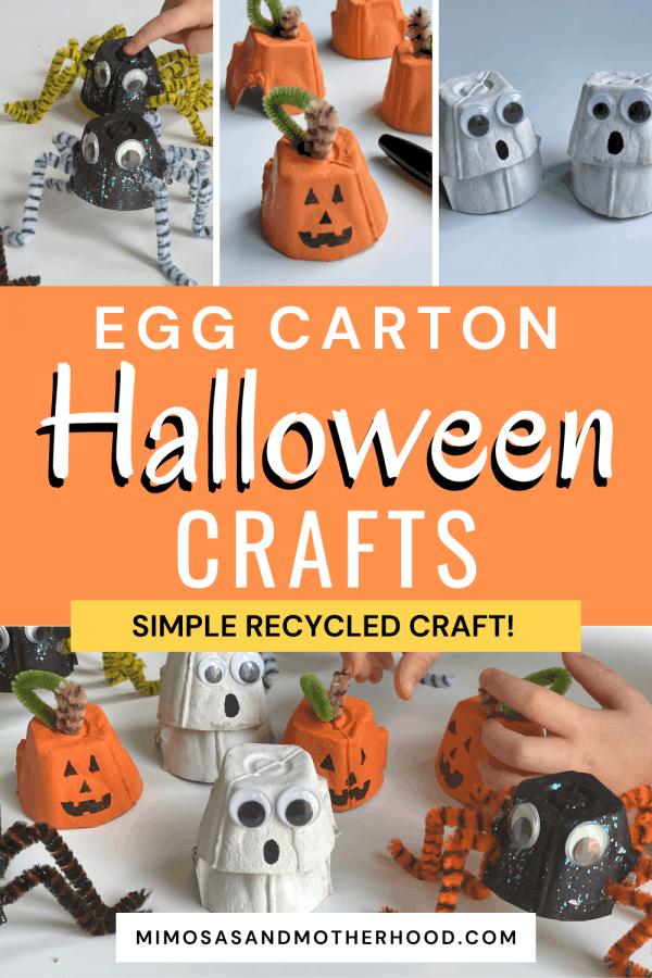egg carton halloween crafts blog post title image