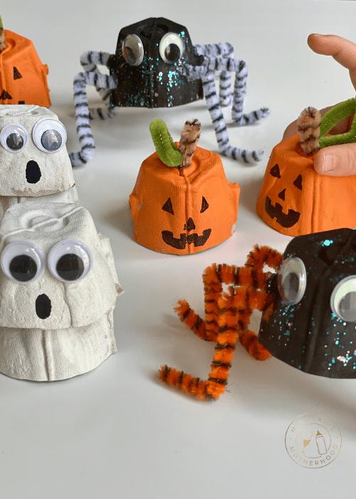 easy egg carton halloween crafts